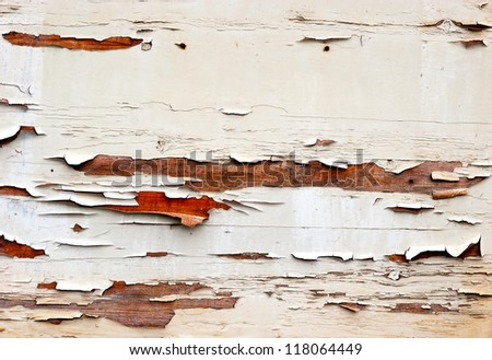 Old painted cracked wooden surface