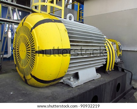 old, painted electric motor as drive exhaust fan