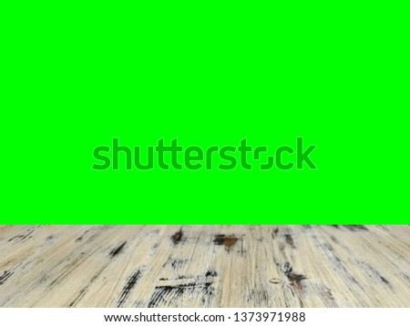 old painted washed oak wood coffee table on the blurry chroma key green screen display background. green screen stock footage video