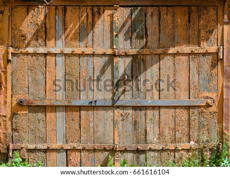 wood garage door texture. Old Painted Wooden Garage Door Of Brown Color Wood Texture