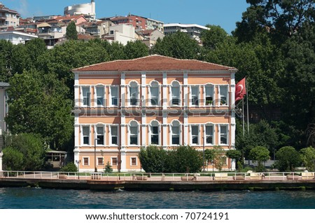 old palace on the Bosporus waterfront in Istanbul