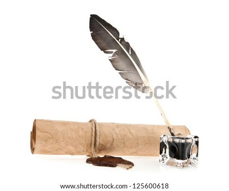 old paper and ink-pot with a feather is isolated a white background