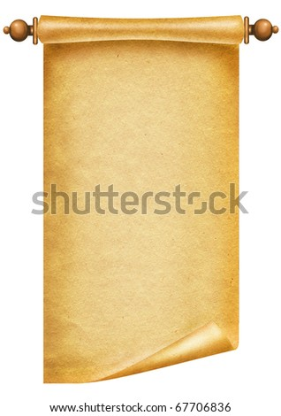 Old paper background.Antique scroll on white