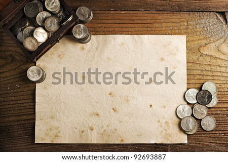 old paper background texture wiyh Treasure chest and old coins