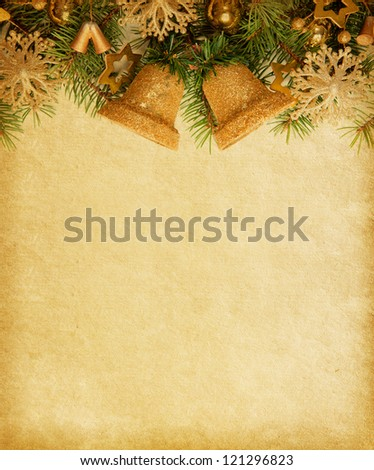 Old paper background with Christmas border.