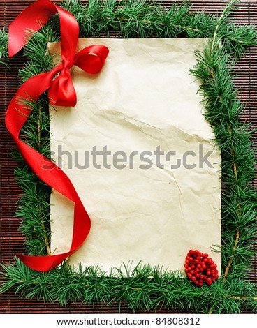 old paper bordering with christmas decoration