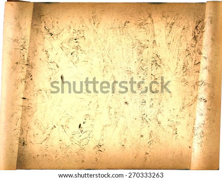 old paper card, gold paper for writing, or background, illustration, scroll