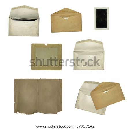 Old paper design elements isolated on white.