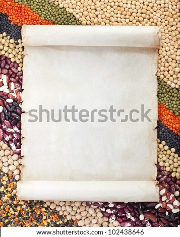 old paper for menu on lentils, beans, peas, soybeans, legumes textured background