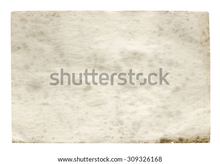 old paper isolated on white background with clipping path #309326168