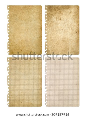 Old paper isolated on white. Notebook