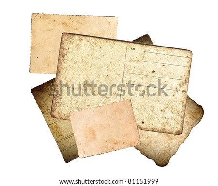 Old paper, letters and postcards on white background