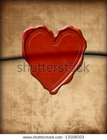 Old Paper Love Letter With Wax Seal Stock Photo 13508503