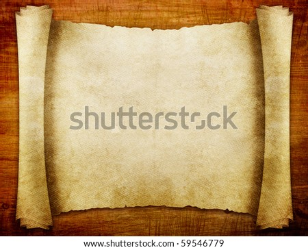 old paper manuscript on brown wood texture with natural patterns