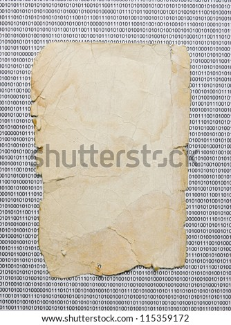 old paper on the background of a binary code