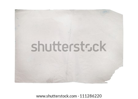Old paper on white