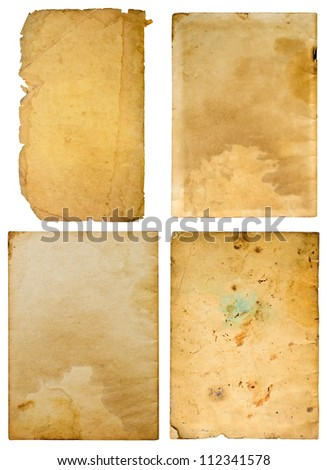 Old paper on white background , Four plates.