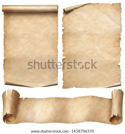 Old paper or parchment scrolls set isolated on white