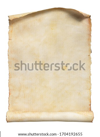 Old paper scroll isolated on a white background. Clipping path included. 3d illustration