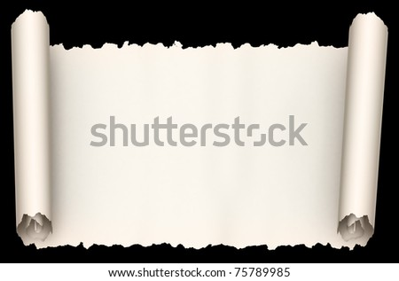 Old paper scroll  isolated on black background