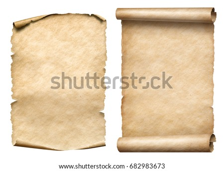 old paper scrolls or parchments 3d illustration set