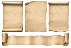 Old paper scrolls with ribbon banner set isolated on white