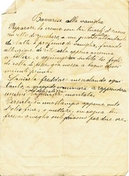 Old paper sheet with a recipe in Italian written by hand