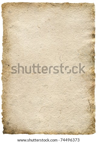 Old paper sheet with stains isolated on white