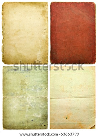 old paper sheets isolated on white