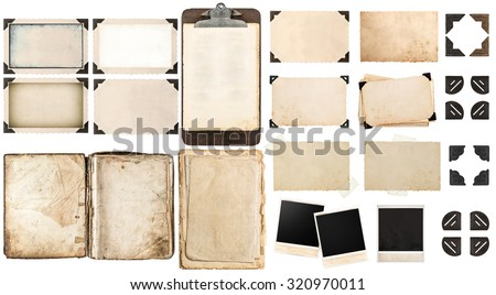 Old paper sheets, vintage photo frames and corners, open book, antique clipboard isolated on white background #320970011