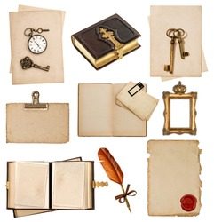 old paper sheets with vintage accessories isolated on white background. antique clock, key, postcard, photo album, feather pen