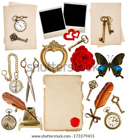 old paper sheets with vintage accessories isolated on white background. antique clock, key, postcard, photo frame, feather pen, glasses, compass, scissors, flower, butterfly. objects for scrapbook