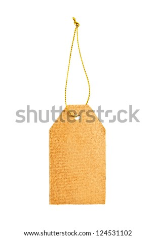 Old paper tag with golden string isolated on white