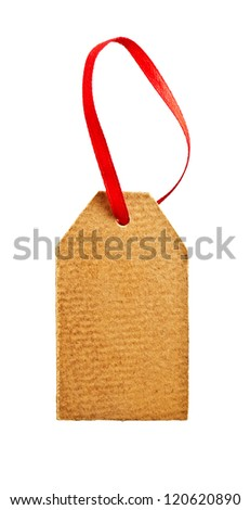 Old paper tag with red ribbon isolated on white