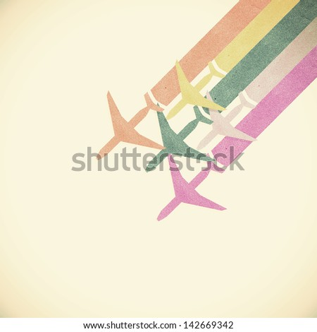 Old Paper texture,Colorful Airplanes on vintage tone  background