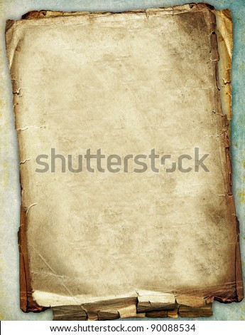 Old paper texture, torn scratched surface - stock photo