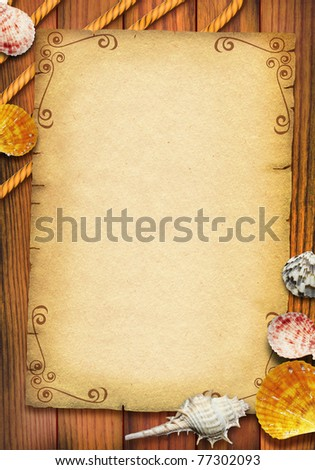 Old paper texture with sea shells and rope for text.Vintage