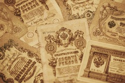 Old paper tsarist money of the Russian Empire State credit cards