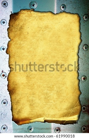Old paper with a metal frame