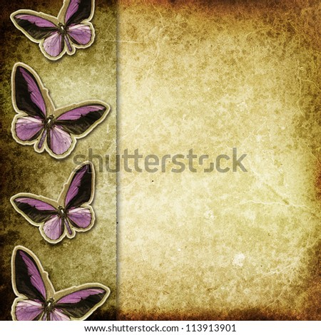 Old paper with butterflies