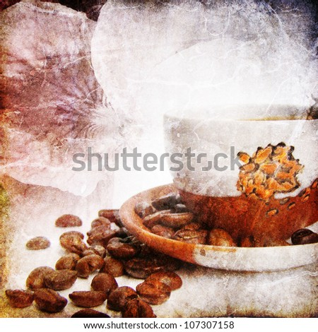 Old paper with coffee cup and flower