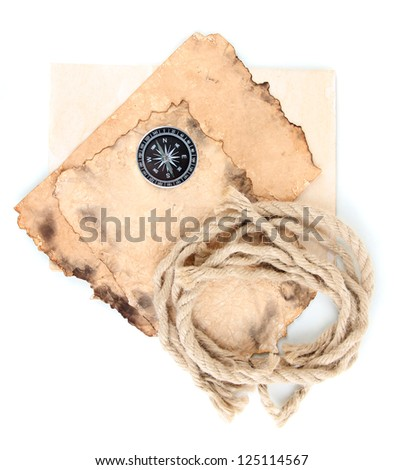 Old paper with compass and rope isolated on white