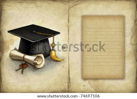 Old paper with drawing of graduation cap and diploma