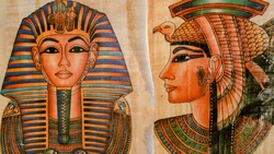 Old Paper With Egyptian Queen Cleopatra and sphinx