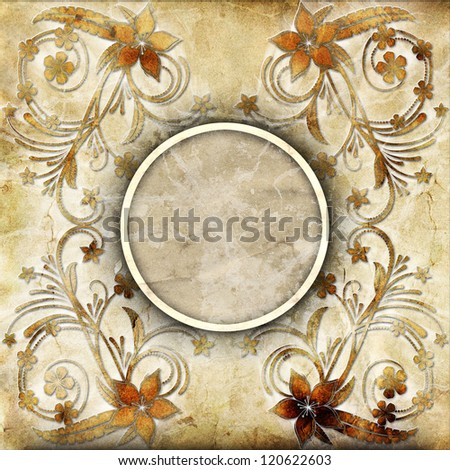 Old paper with floral pattern #120622603