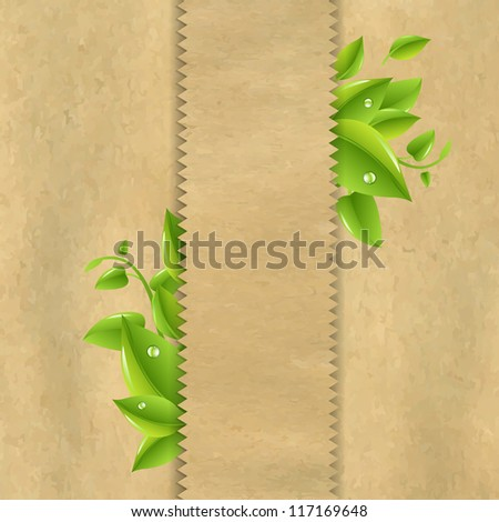 Old Paper With Green Leaves
