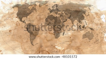 old paper with map of the world