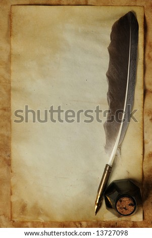 Old paper with quill & ink - stock photo