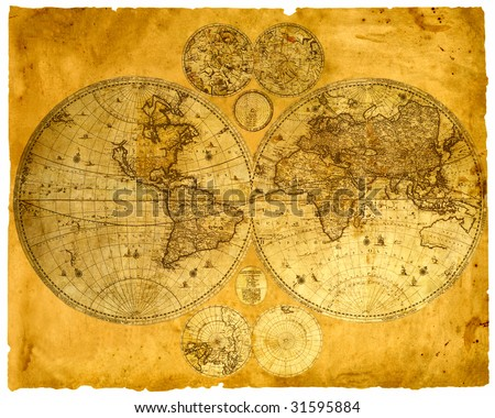 Old paper world map, Armenia.
