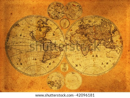 Old paper world map,Armenia.